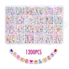 1200pcs DIY Acrylic Letters Alphanumeric Square Beads English Jewelry Bracelet Pendant Beading Making for Kid Gifts 6X6mm(China)