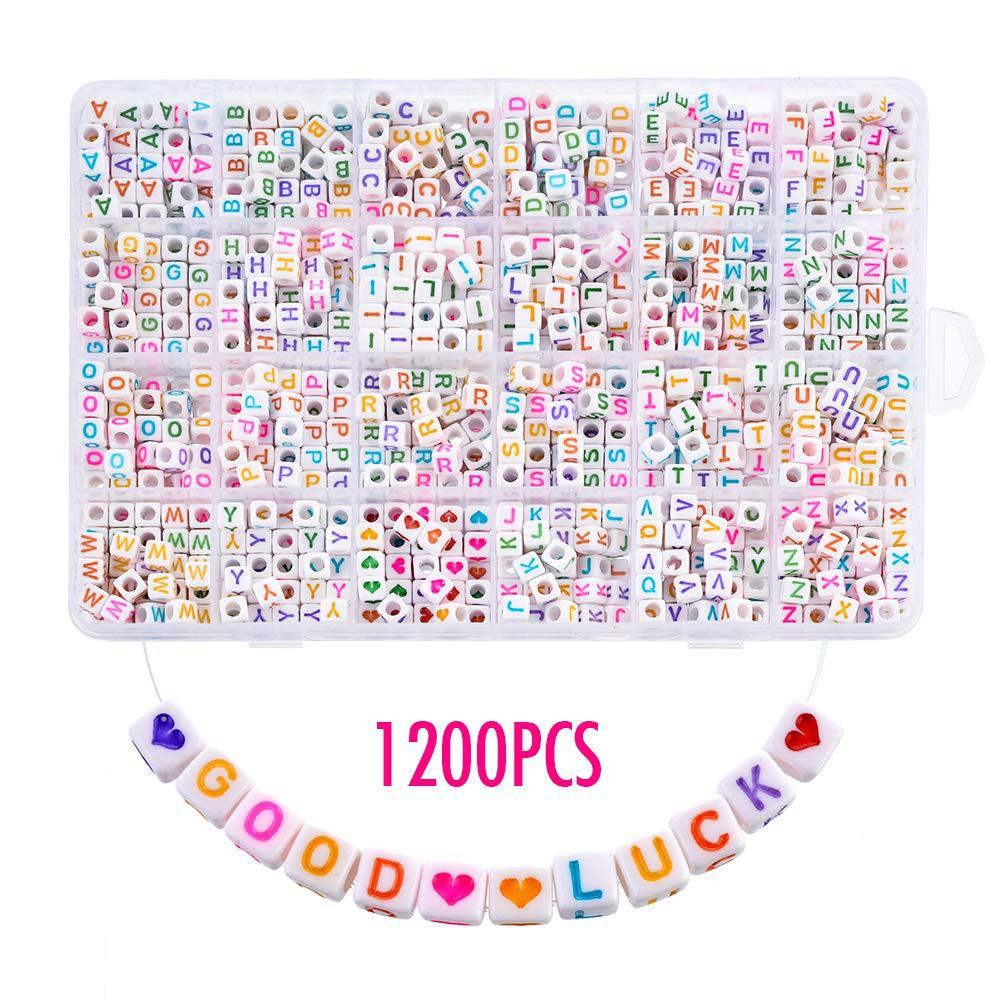 1200pcs DIY Acrylic Letters Alphanumeric Square Beads English Jewelry Bracelet Pendant Beading Making for Kid Gifts 6X6mm