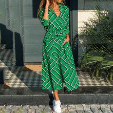 Women's Shirt Dress Midi Dress Long Sleeve Striped Hot Vacation Dresses Summer Fiesta Print Dress Plus Size 5XL