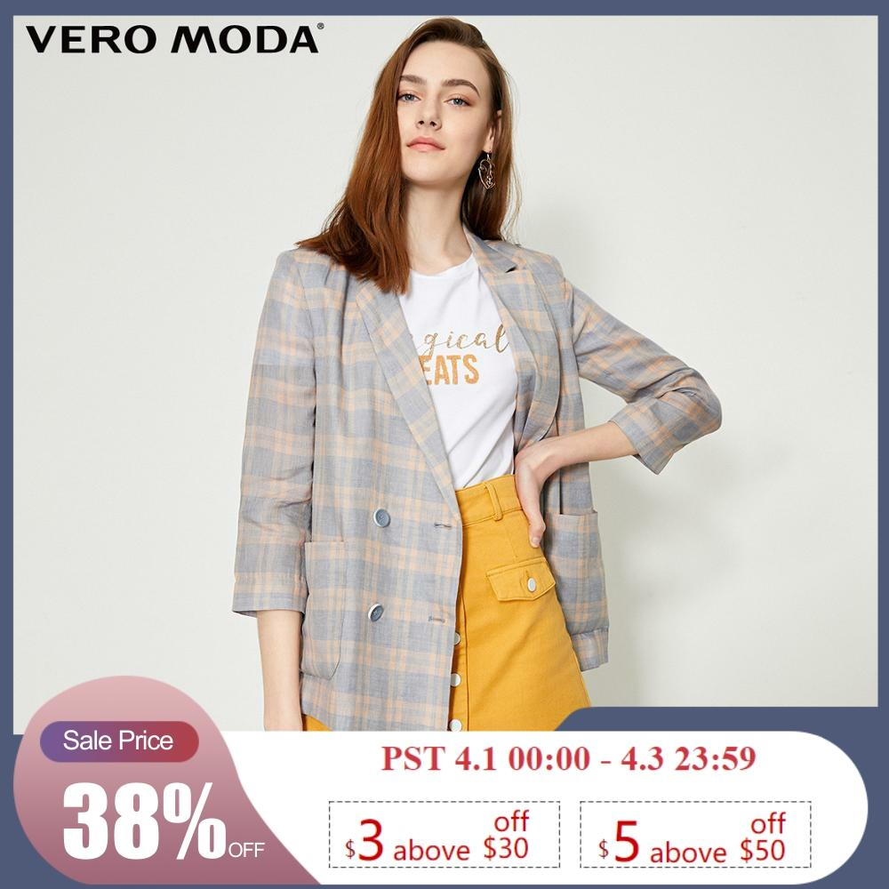 Vero Moda Women's 100% Linen Plaid Thin Blazer  | 319208534