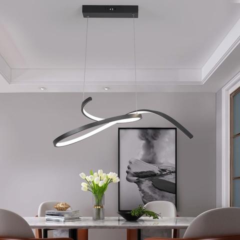 neo brilho moderno led lustre para sala de jantar cozinha barra retanturant fosco preto branco