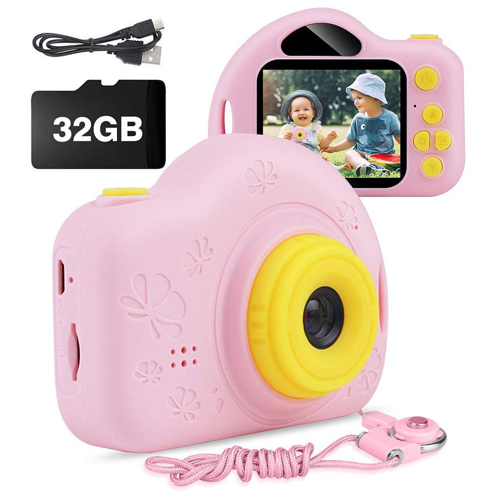 Kids Camera Cartoon Digital Camera Mini Sports Video Camera Gift for Children with Card Reader 32GB SD Card image