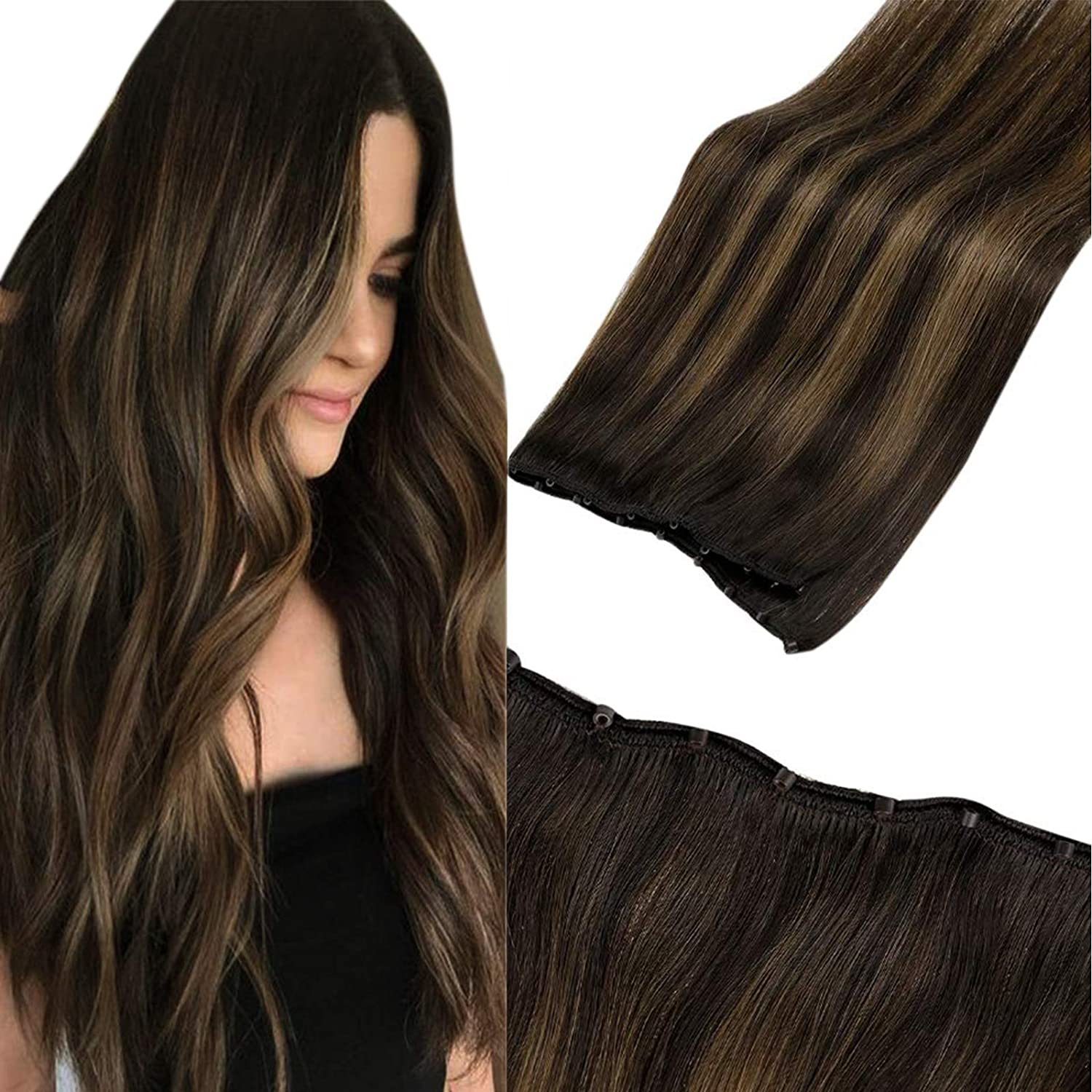 VeSunny Remy Micro Loop Weft Hair Extensions Brown Balayage Micro Weft Extensions Real Human Hair Double Weft 12