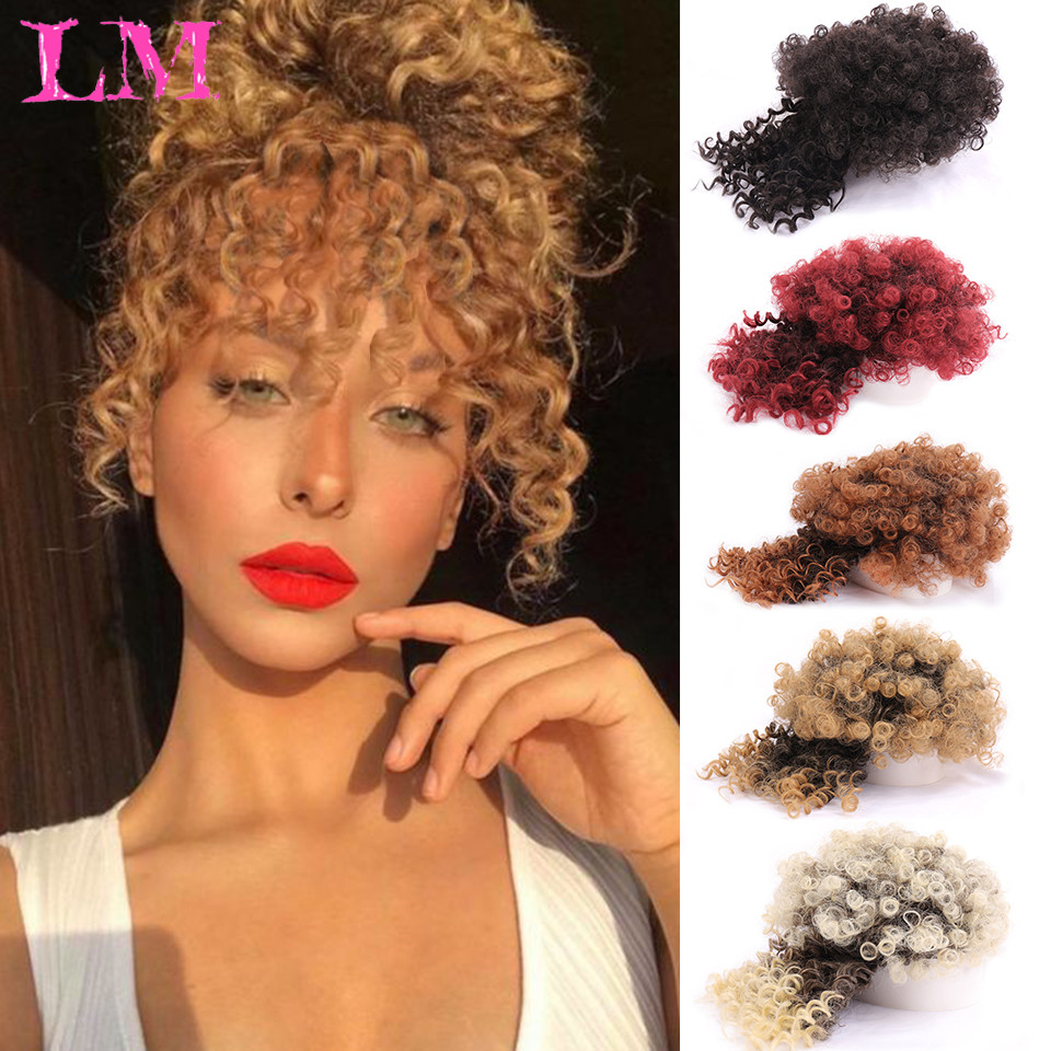 LM Puff Afro Kinky Short Curly Bangs Drawstring Afro Chignon Short Ponytail Kinky Curly with Bangs Fringe Synthetic Hair Ex