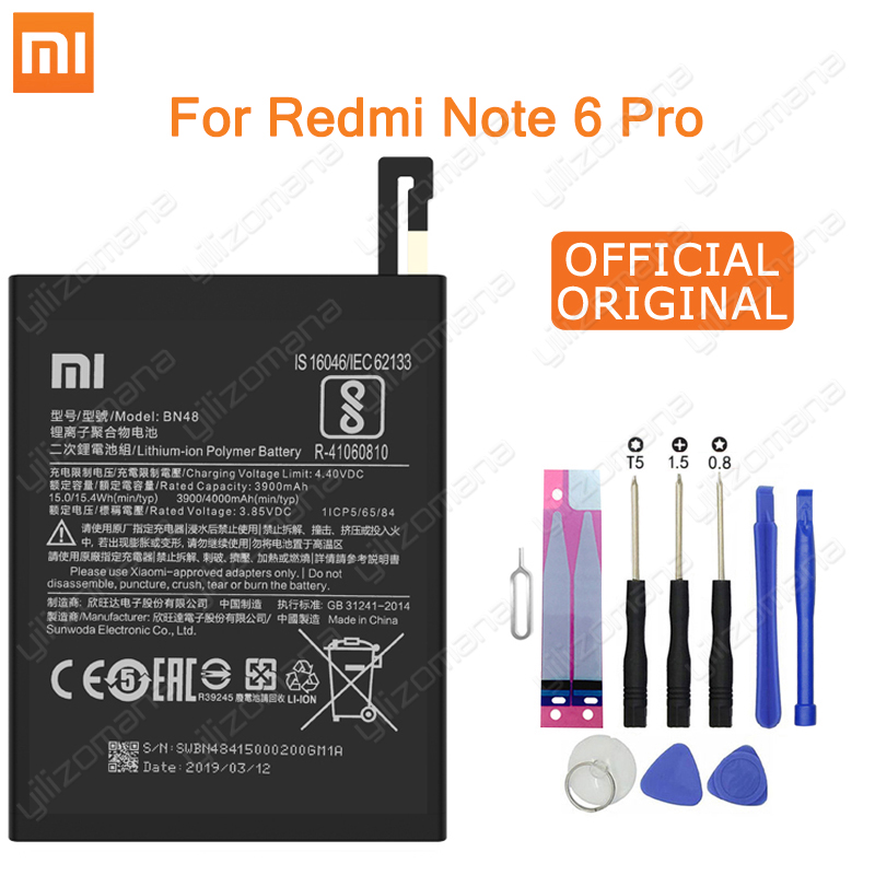 Xiao Mi Original Phone Battery BN48 4000mAh For Xiaomi Redmi Note 6 Pro High Quality Replacement Batteries Retail Package +Tools