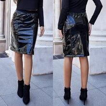 Женская юбка на молнии из искусственной кожи с высокой талией