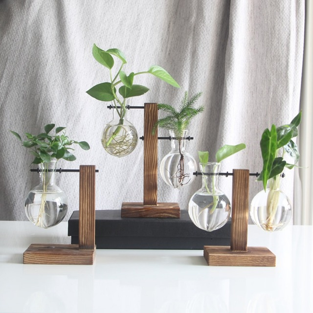 Glass and Wood Vase Planter Terrarium Table Desktop Hydroponics Plant Bonsai Flower Pot Hanging Pots with Wooden Tray Home Decor 3