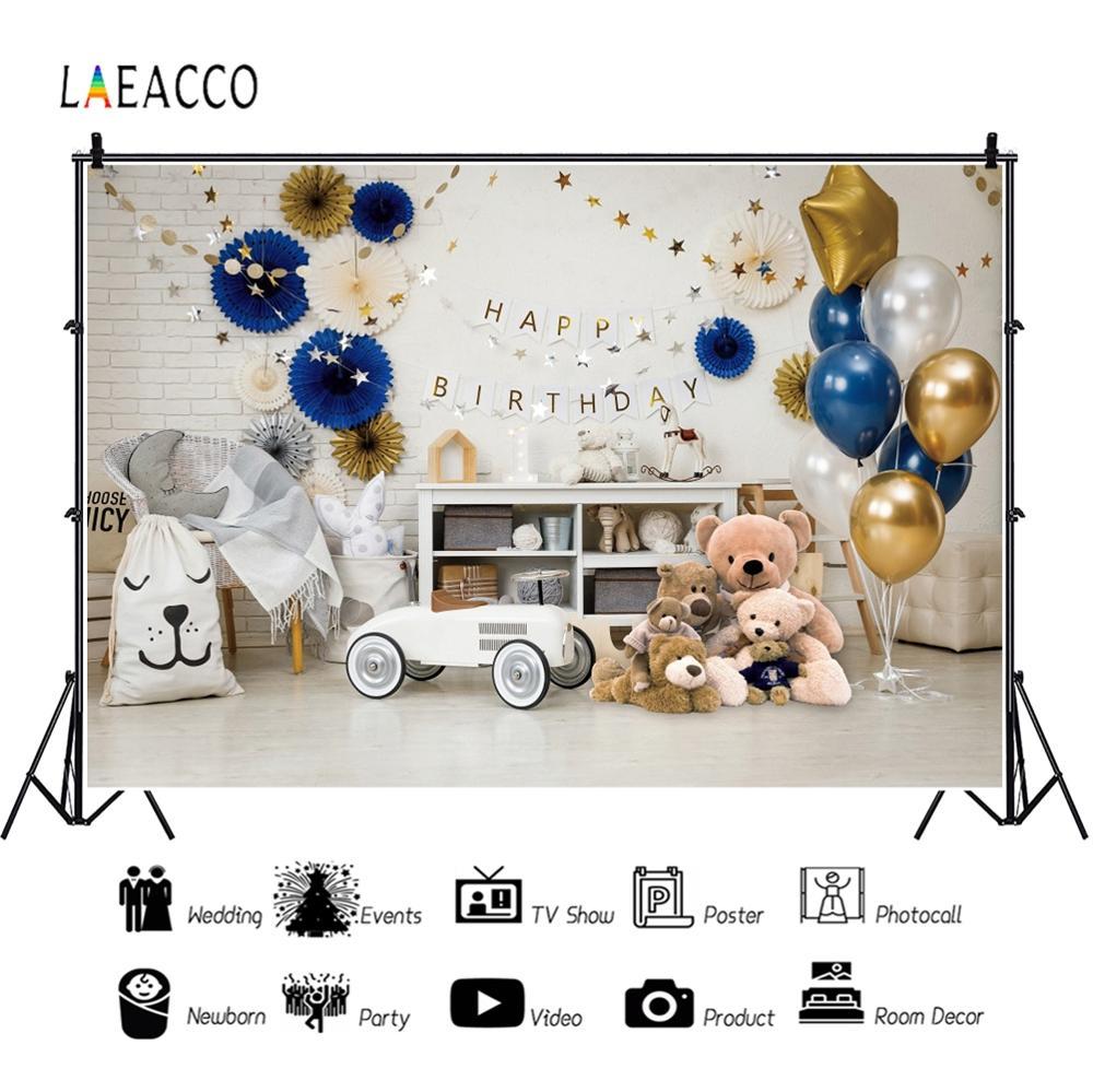 Image 2 - Детские воздушные шары Laeacco на день рождения, игрушечные машинки, медведи, полки, стулья, детские фоны для фотосъемки, ФотостудияФон для фотосъёмки    АлиЭкспресс