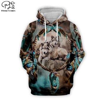 Men indian native Wolf Full Print 3d hoodie harajuku sweatshirt zipper coat Unisex streetwear Jacket Tracksuit women pullover 16 men women indian native skull printed 3d hoodies harajuku sweatshirt zipper coat unisex streetwear jacket tracksuit pullover 10