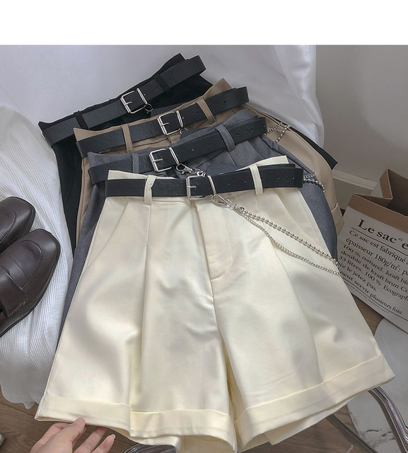 Ashgaily 2021 New Shorts Women Vintage Sashes All-match Solid High Waist Shorts Casual Loose Ladies XL 3