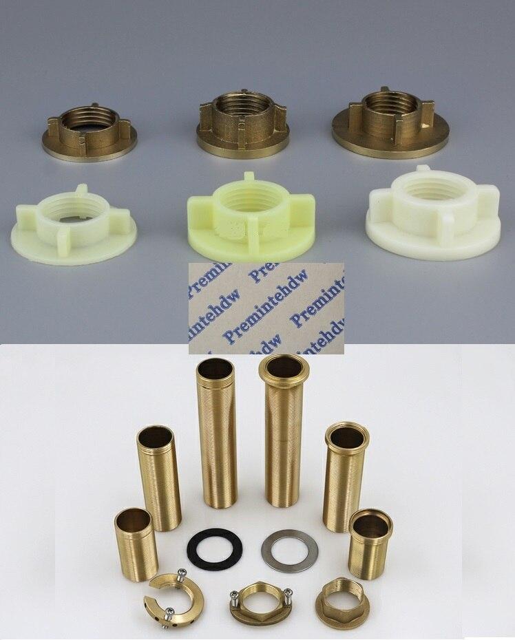 "10Pcs/Lot 1/2"" Plastic Brass Faucet Locknut Brass Nipple Kitchen Cold Warm Mixer 1"" 32mm Lock Nut Washer Rubber Seal Gasket"
