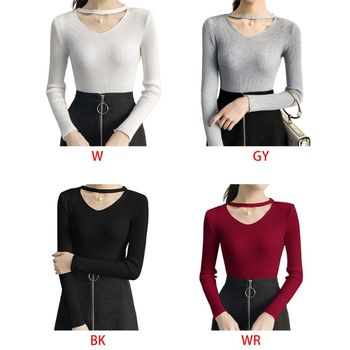 Women Autumn Solid Pullover Ribbed Knitted Sweater 2019 Lady Casual Choker Faux Pearl Sexy Hollow V-Neck Knitwear Jumper Tops
