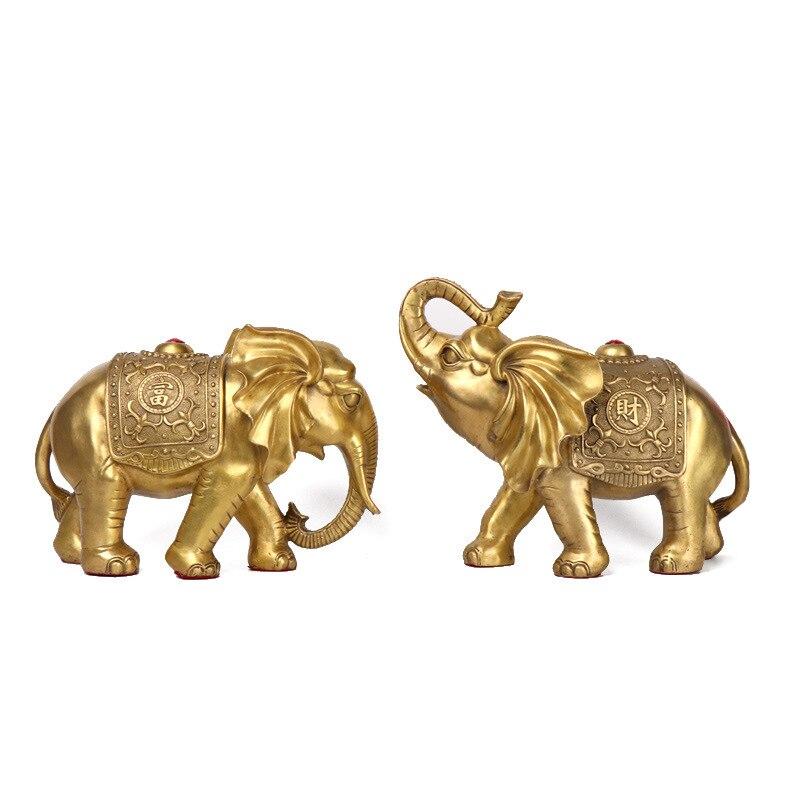 Mozart di Rame Puro Paio Ricchezza Elephant Ruyi Jixiang Del Mestiere Fortunato Elefante Feng Shui Decorazione Dell'ufficio