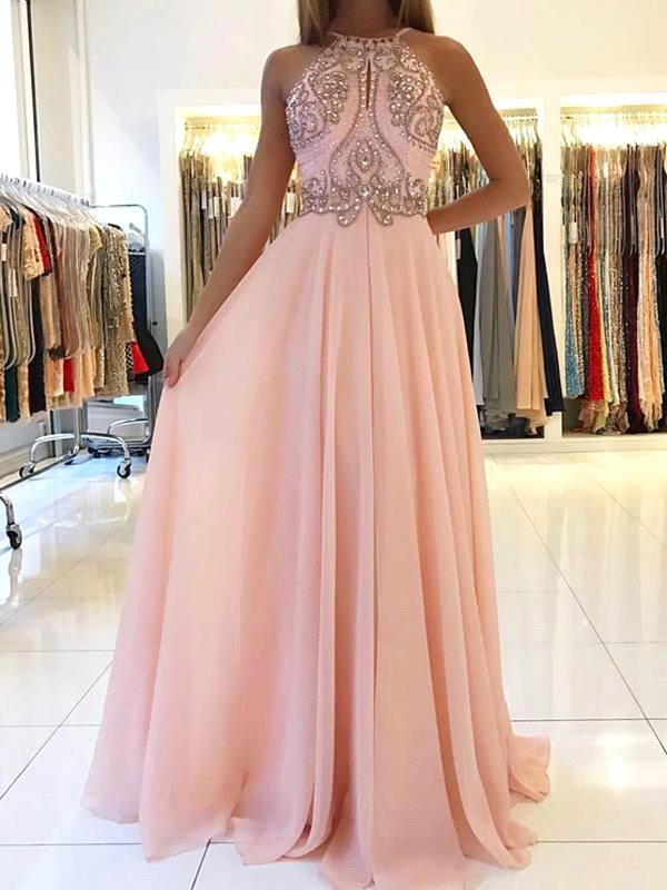 New Sexy Pink Beaded   Evening     Dresses   Long 2019 Backless Chiffon Women Girls Formal   Dresses     Evening   Party Prom Gowns