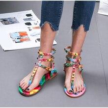 Women's Rivets Sandals Female Rome Candy Color T-Strap Flip Flop Ladies Ankle Bu