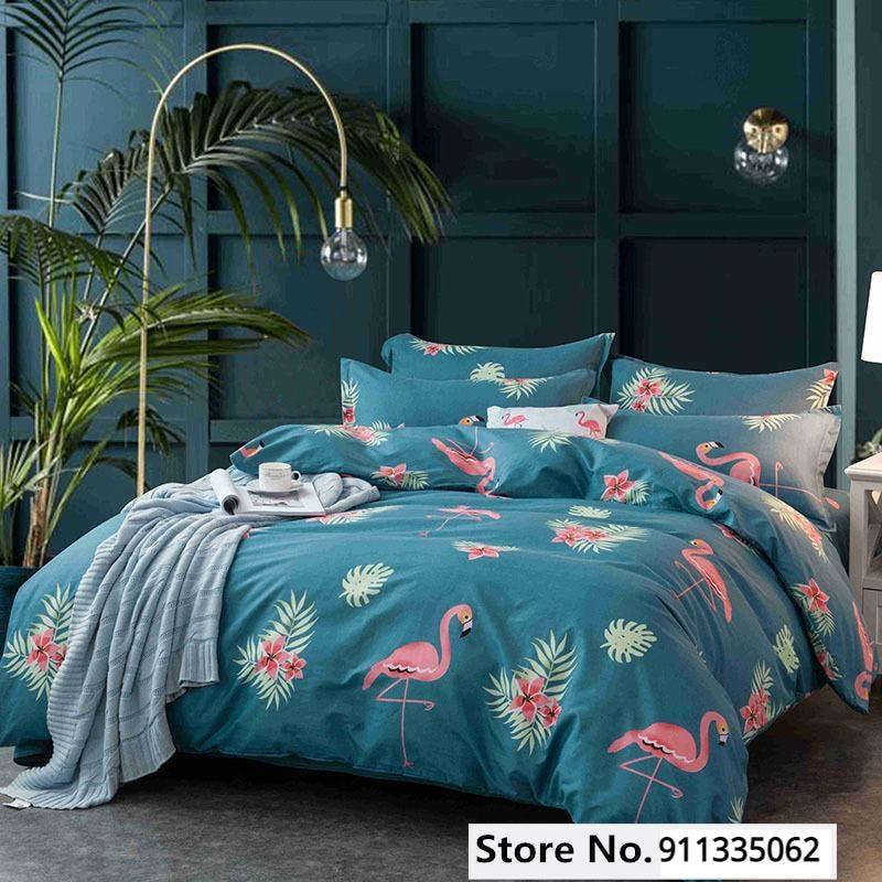 40Flamingo Pattern Bedding Multi-size Sheet Duvet Cover Pillowcase Single Piece Bedding Single Person Double Quilt Cover