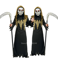 Halloween Scary Horror Zombie Ghost Cosplay Costume for Kids Carnival Party Baby Girl Boy Death Long Robe Mask Set Outfit