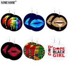 SOMESOOR Mixed 6 Package Wholesale Sexy Melting Lips Wooden Round Both Sides Printing African Drop Earrings For Women Gifts