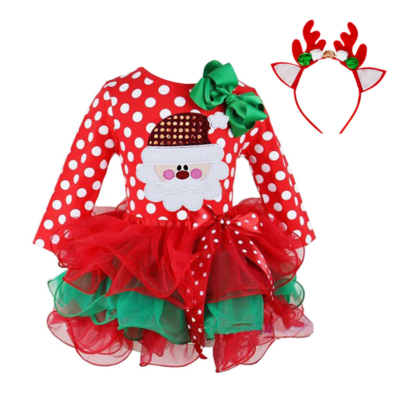 24M Christmas Gift Girls Dress Santa Claus Reindeer Party Costume Baby Girl Winter Snowman Red New Year Girl Children Clothing image