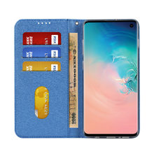 High Quality Silk Flip Cases for Samsung S10 S10 Plus Card Slot Stand with Lanyard Case popsocket for mobile phones fornite(China)