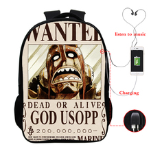 One Piece multi-function USB charging backpack laptop for youth school 16 inch bag