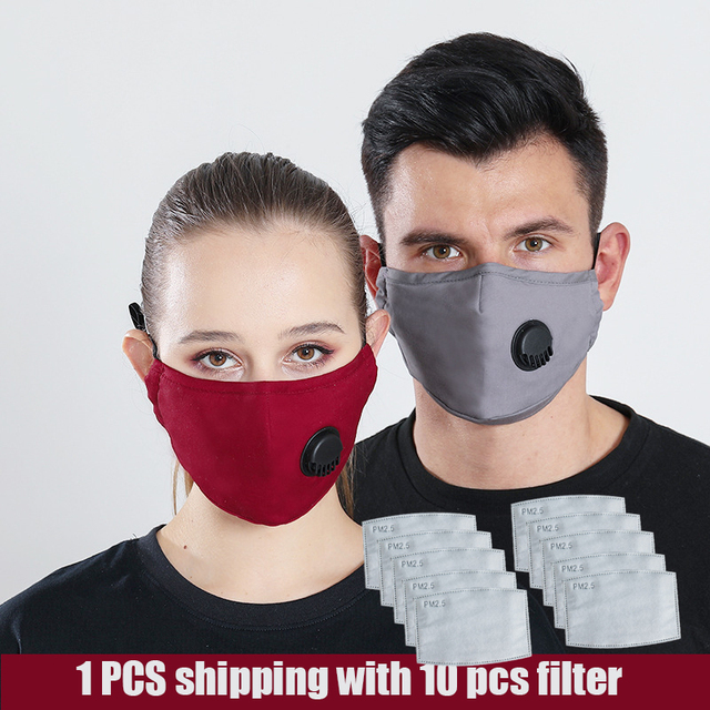 1 PCS Mouth Mask Reusable Mask Washable with 10 PCS PM2.5 activated carbon filter Respirator