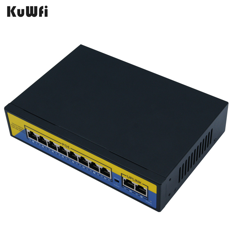 POE Switch 100 1000mbps Ethernet Switch 10Port 48V Gigabit Switcher RJ45 Hub 8Port POE 2Port Uplink Distance 10 50m in Network Switches from Computer Office