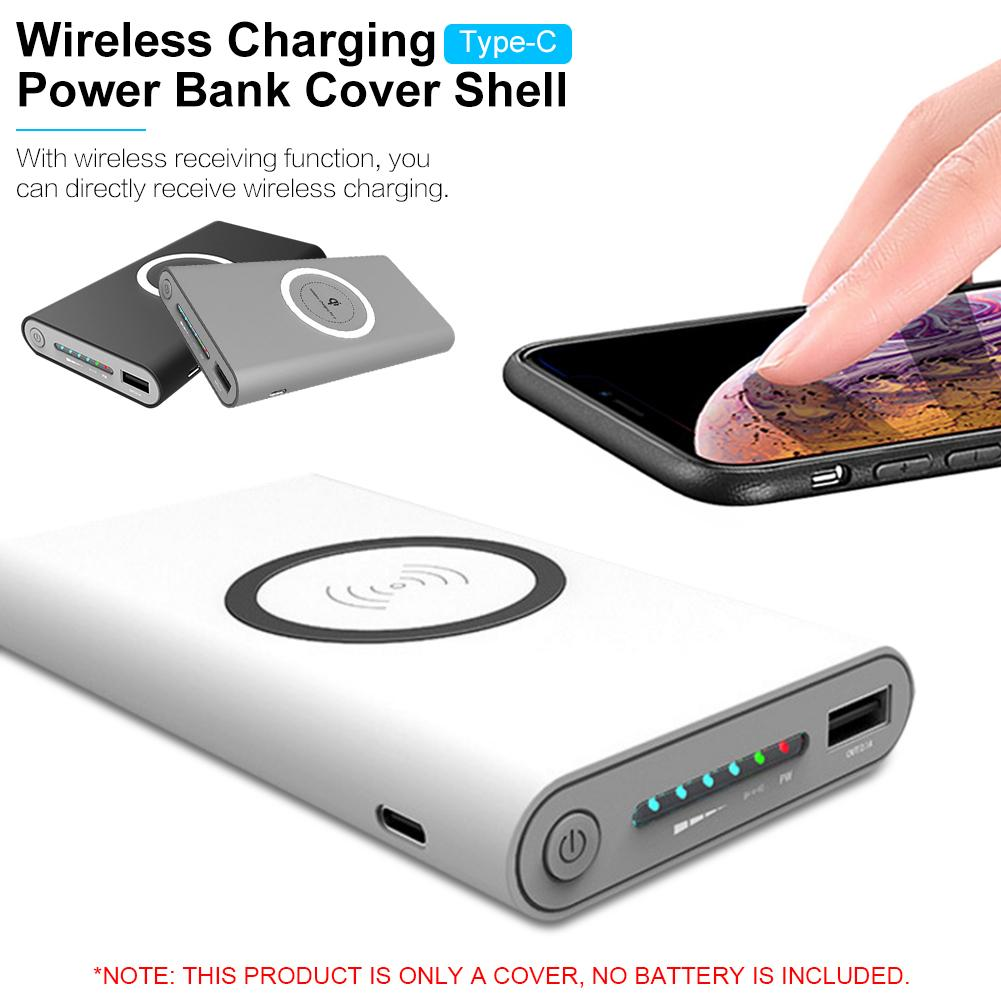 TYPE-C Power Bank Wireless Charger Power Bank Cover Shell Mobile Phone Charging Accessories For Iphone X For Samsung S10 Note10+