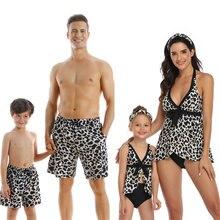 Семейный купальный костюм для мамы дочки папы сына бикини пляжная