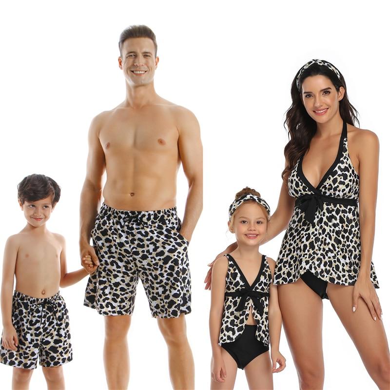Family Swimming Suit Mother Daughter Dad Son Bikini Beachwear Swim Sets Adults Kids Baby Swimwear Bathing Suit Mom Daughter Swim