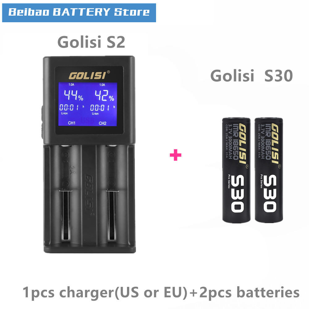 Golisi 2pcs S30 IMR 18650 3000mah rechargeable battery for VAPE with Golisi S2 LCD Intelligent Battery Charger 2A fast charge-in Rechargeable Batteries from Consumer Electronics on AliExpress - 11.11_Double 11_Singles' Day 1