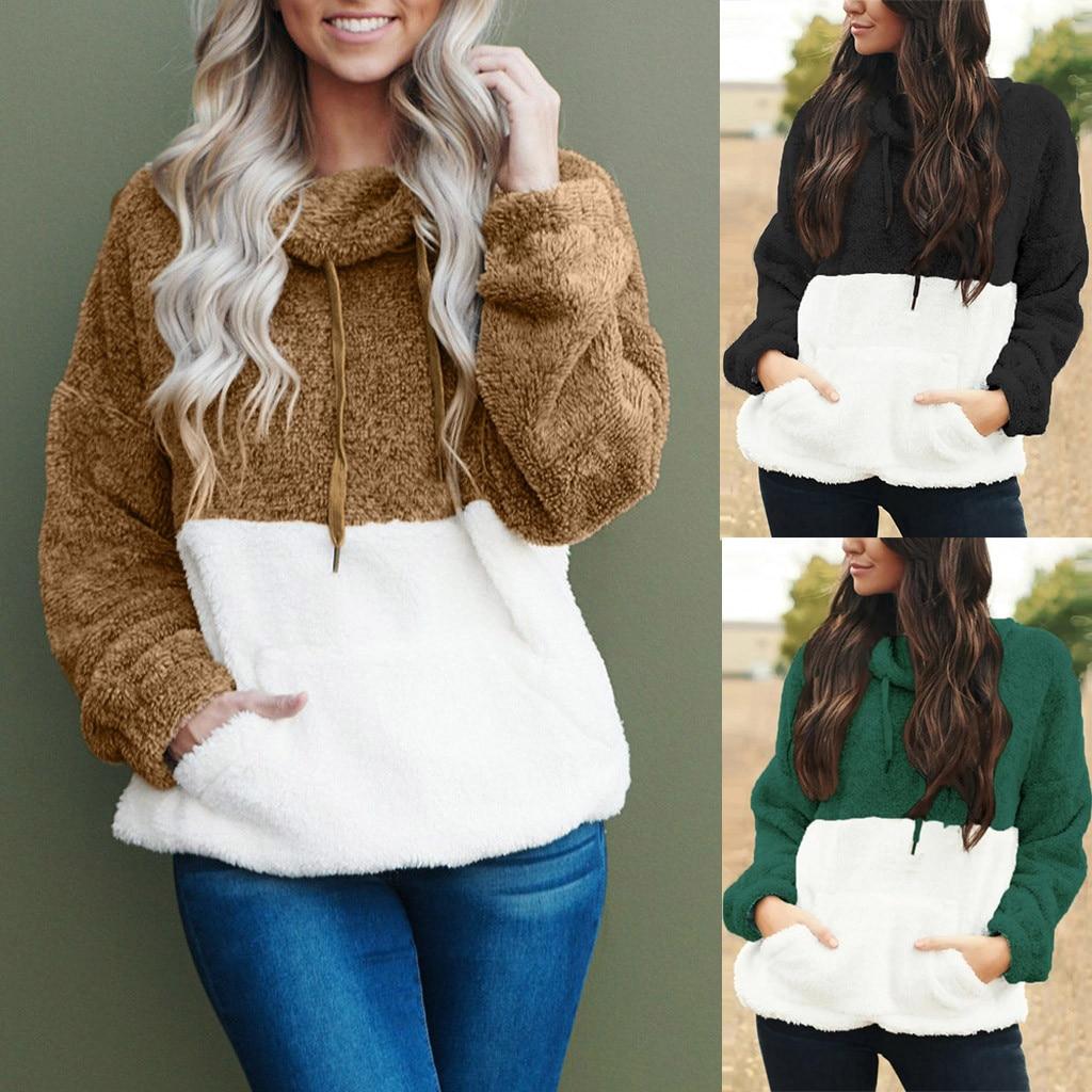 2020 Fashion Autumn Winter Long Sleeve Zipper Women Hooded Sweatshirt Plush Coat Warm Fleece Turtleneck Casual Women's Outfit #B