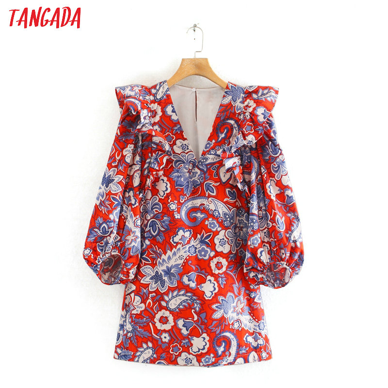 Tangada Women Floral Print Red Mini Dress Puff Long Sleeve  V Neck Ladies Vintage Short Dress Vestidos 2XN25