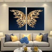 Скандинавские золотые бабочки животные перо холст Картина абстрактные