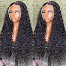 Wigirl onda profunda 13x4 frente do laço perucas de cabelo humano encaracolado brasileiro longo 30 32 polegadas onda de água perucas frontais do laço para a mulher preta