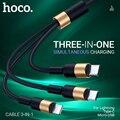 hoco 3 в 1 USB кабель для iPhone 3в1 Micro USB Type C провод зарядник для Samsung USB C зарядное устройство шнур быстрая зарядка для Lightning универсальный шнурок зар...