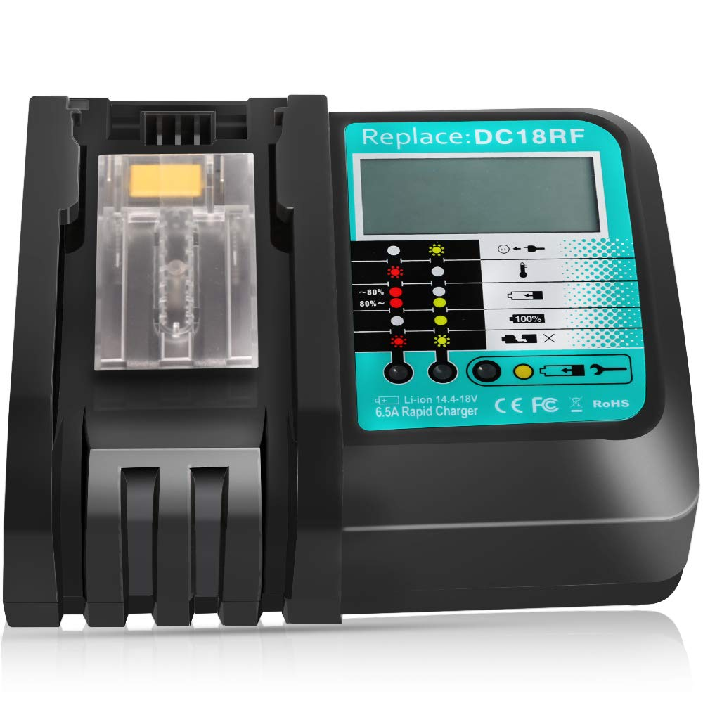 Free shipping 6 5A Charging Current DC18RF Rapid Charger for Makita 14 4V -18V Lithium Battery Charger With LCD Screen