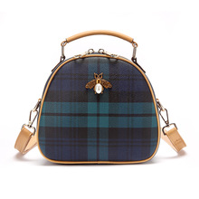 Women Fashion PU Leather Shoulder Bags Small Plaid Crossbody Handbags Top Handle Tote Messenger