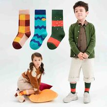 3pairs/lot  Fashion Plaid Stripe Cotton Socks Kids Long Crew Girls Boys Warm Happy Children 3-12T Calcetines Autumn