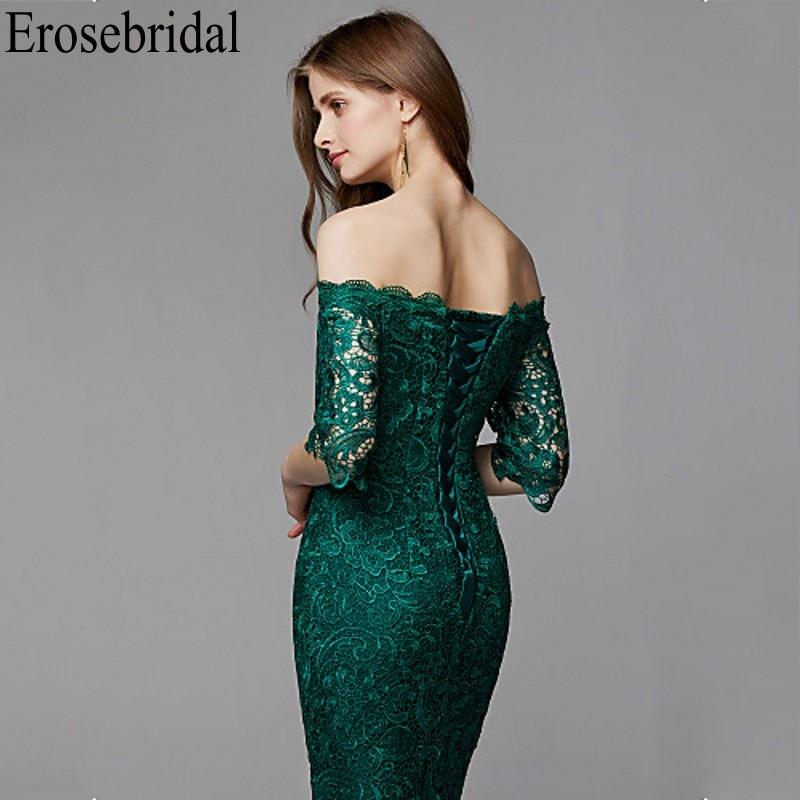 Image 5 - Erosebridal Half Sleeve Long Formal Dresses Evening Gown for Women Elegant Boat Neck Long Evening Dress 2019 Emerald Green Dress-in Evening Dresses from Weddings & Events