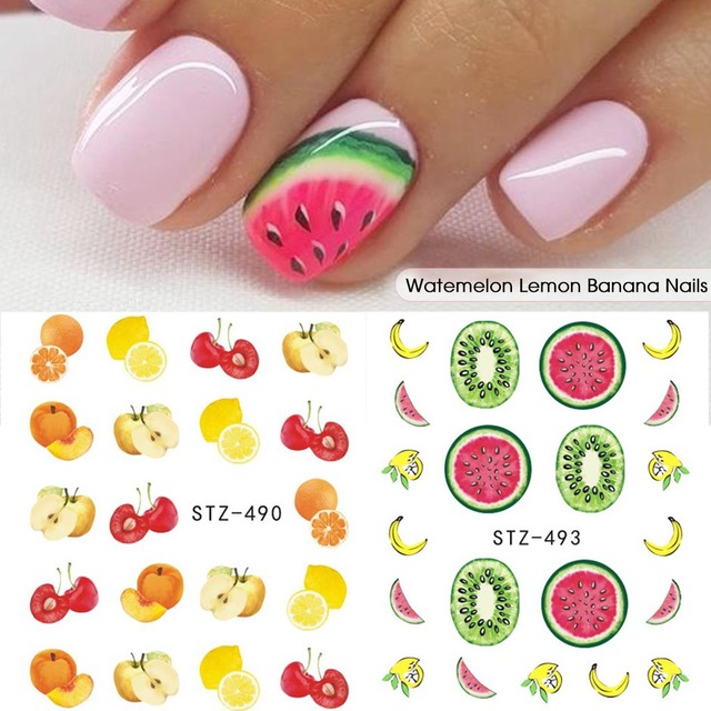 1PCS Strawberry/Watermelon Winter Fruit Leaves Stickers For Nails Slider Manicure Nail Art Design Water Decals Tips CHSTZ474-500