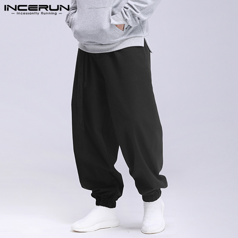 INCERUN Fashion Men Solid Color Drawstring Harem Pants Vintage Thin Baggy Casual Trousers Joggers Mens Sweatpants Streetwear
