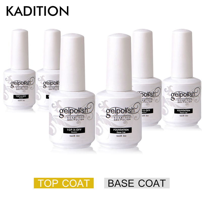 Base Top Coat Nail Polish Topcoat + Basecoat Hybrid Varnish Gel Nail Polish Manicure Semi Permanent UV Gel Polish Nail Art