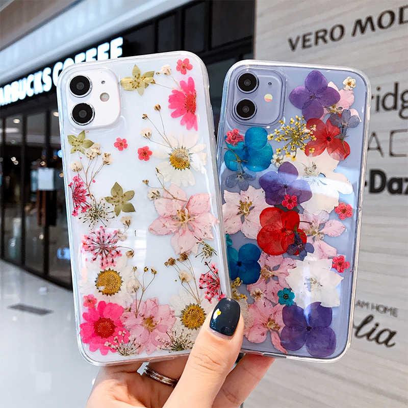 Custodia pressata per fiori secchi veri per iPhone 12 11 Pro Max custodie per iPhone XS Max XR X 7 8 Plus SE 2020 Cover floreale in Silicone morbido
