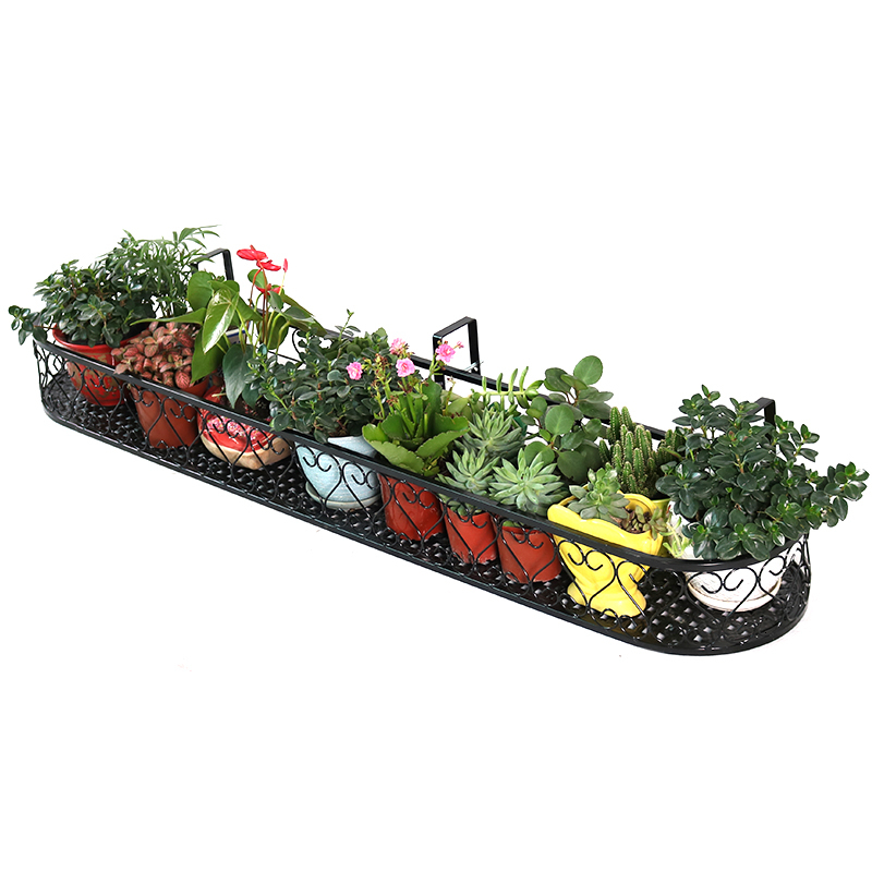 Balcony Flower Rack Suspension Railing Pylons Guardrail Hanging Type Flowerpot Shelves Outdoors Meaty Green Luo Flower Basket
