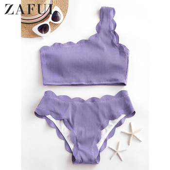 ZAFUL Women Textured Ribbed Scalloped One Shoulder Tankini Swimsuit Solid Color Elegant Swimwear Two Piece Bathing Suits 2020 one shoulder scalloped trim printed swimsuit