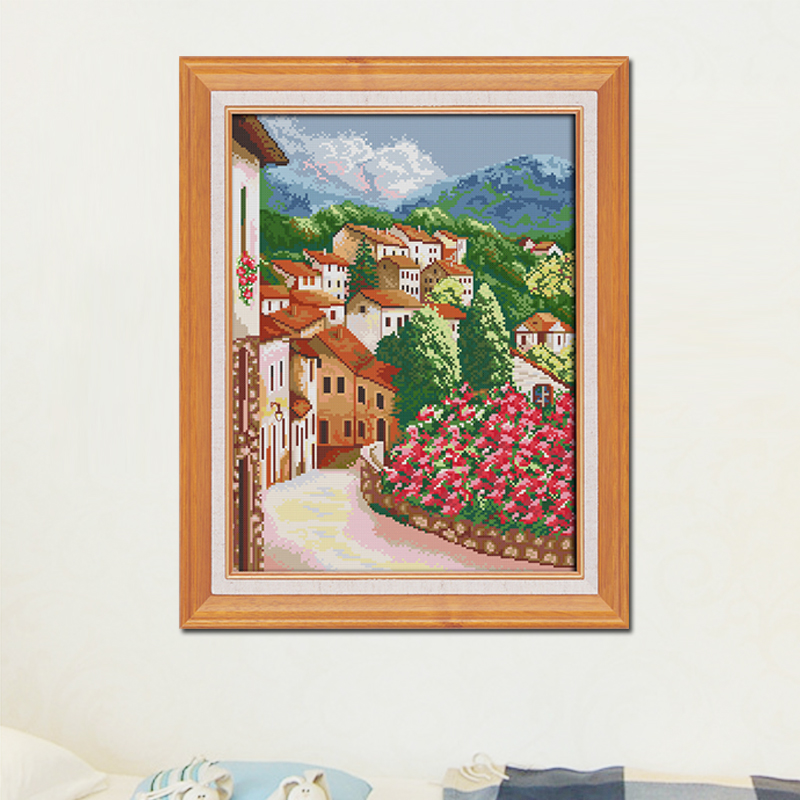 Joy Sunday Town cross stitch embroidery set Landscape cross stitch pattern cross stitch needlework Scenery picture cross stitch in Package from Home Garden