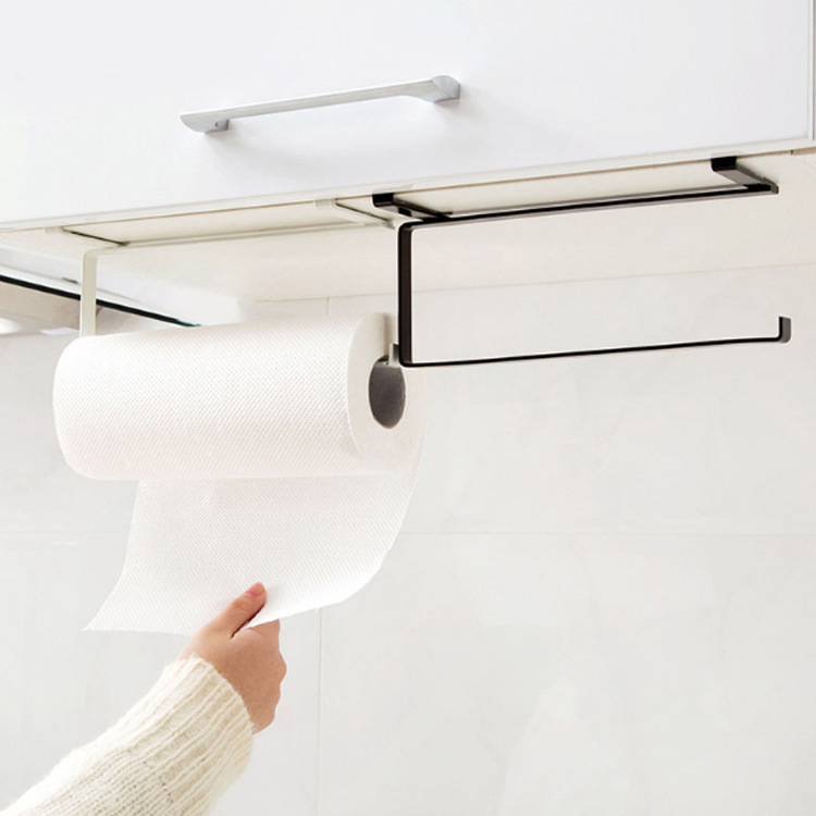 Iron Kitchen Tissue Holder Hanging Bathroom Toilet Roll Paper Holder Towel Rack Kitchen Cabinet Door Hook Holder