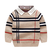 1-8T Toddler Kid Boy Clothes Spring Winter Warm pullover Top Long Sleeve Plain Sweater Girl Fashion Knitted gentleman Outfit