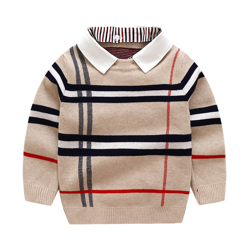 2-8T Toddler Kid Boy Clothes Autumn Winter Warm pullover Top Long Sleeve Plain Sweater Fashion Knitted gentleman Outfit